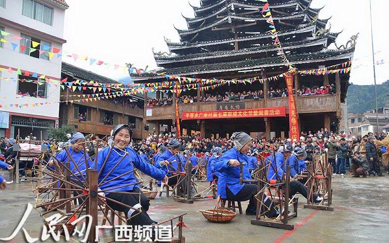 广西龙胜举行原生态侗寨鼓楼文化节