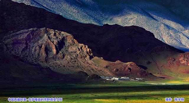 中国西藏阿里·在萨嘎县的荒野感受夕阳