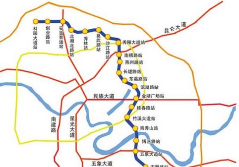 南宁地铁3号线公布23个站址 一期工程2020年完工