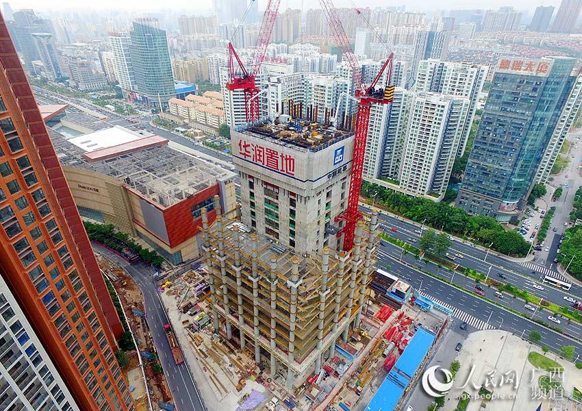 广西北部湾第一高楼南宁华润东突破100米大关