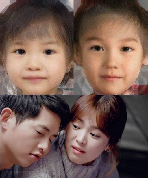 上图是韩国网友合成的宋仲基和宋慧乔宝宝照片(左边是女儿,右边是儿子
