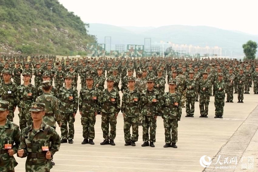 9月29日,武警广西总队在训练基地组织召开教育训练动员大会,标