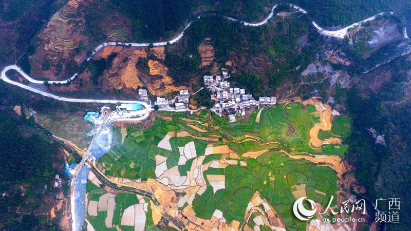 蜿蜒曲折的广西东兰县泗孟乡通村道路(高东风/摄)