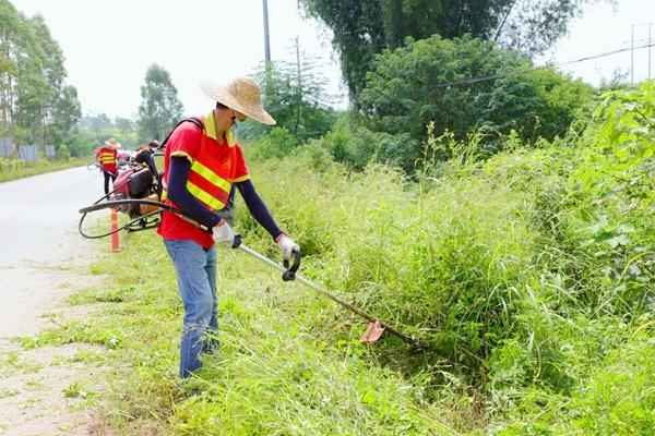 公路养护工作人员在清除公路杂草。黄颖摄