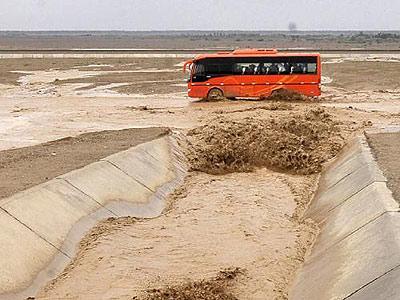 塔里木盆地大雨引发洪水