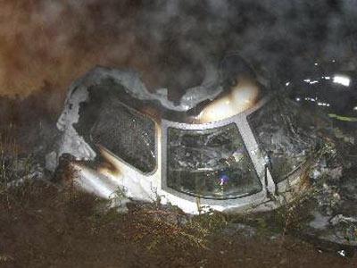 8月25日凌晨拍摄的失事飞机驾驶舱残骸