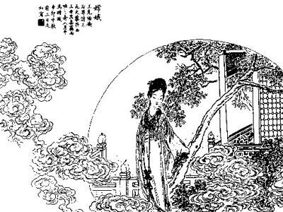 中秋节幼儿园嫦娥奔月简笔画
